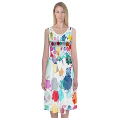 Colorful Diamonds Dream Midi Sleeveless Dress