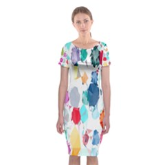Colorful Diamonds Dream Classic Short Sleeve Midi Dress