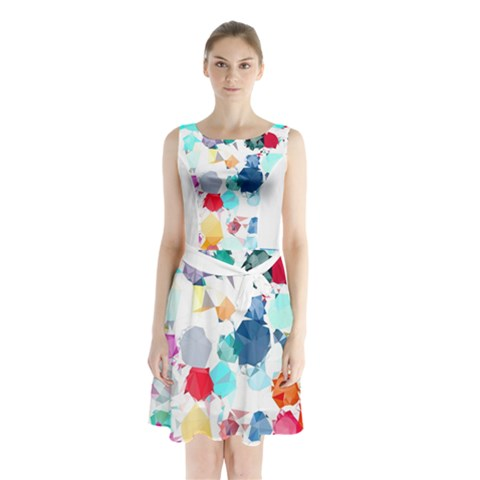 Colorful Diamonds Dream Sleeveless Chiffon Waist Tie Dress
