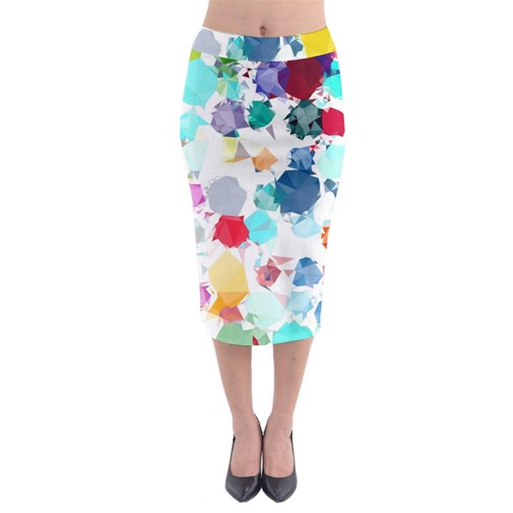 Colorful Diamonds Dream Midi Pencil Skirt