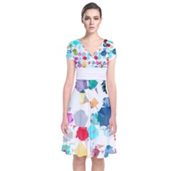 Colorful Diamonds Dream Short Sleeve Front Wrap Dress
