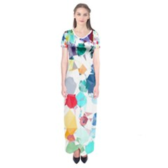 Colorful Diamonds Dream Short Sleeve Maxi Dress