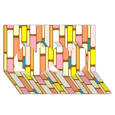 Retro Blocks Twin Hearts 3D Greeting Card (8x4)