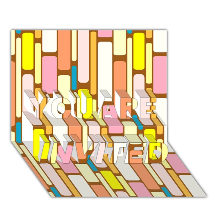 Retro Blocks YOU ARE INVITED 3D Greeting Card (7x5)