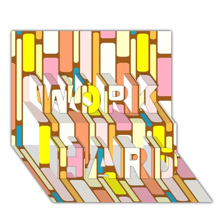 Retro Blocks WORK HARD 3D Greeting Card (7x5)