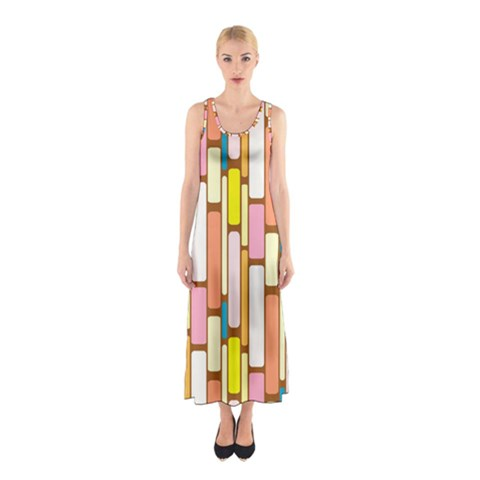 Retro Blocks Sleeveless Maxi Dress