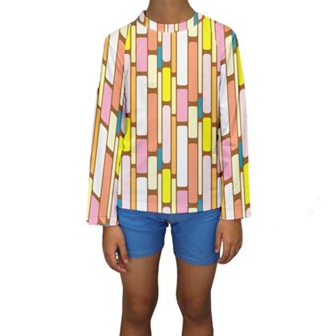 Retro Blocks Kids  Long Sleeve Swimwear