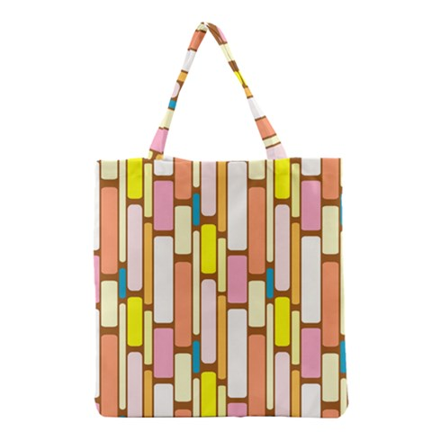 Retro Blocks Grocery Tote Bag