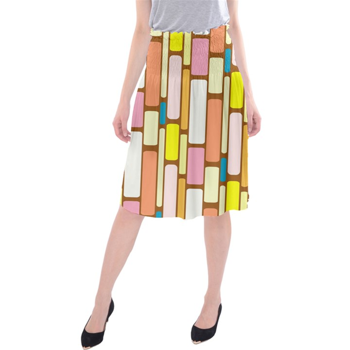 Retro Blocks Midi Beach Skirt