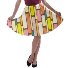 Retro Blocks A-line Skater Skirt