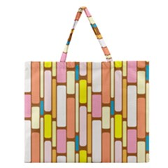 Retro Blocks Zipper Large Tote Bag