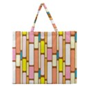 Retro Blocks Zipper Large Tote Bag View1