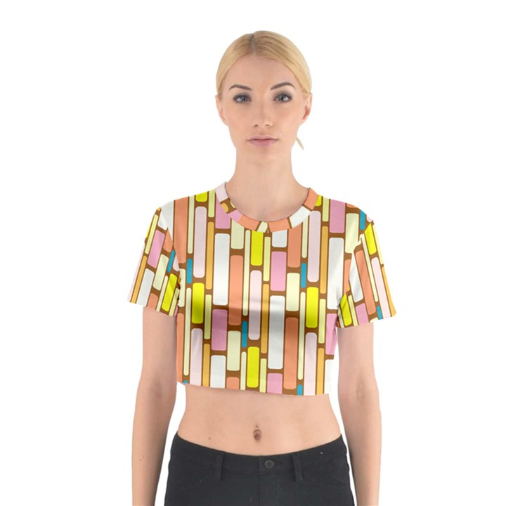 Retro Blocks Cotton Crop Top