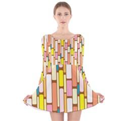 Retro Blocks Long Sleeve Velvet Skater Dress