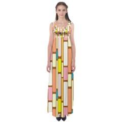 Retro Blocks Empire Waist Maxi Dress