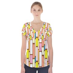 Retro Blocks Short Sleeve Front Detail Top