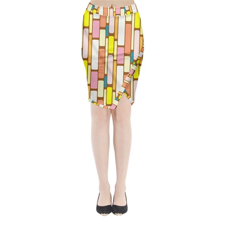 Retro Blocks Midi Wrap Pencil Skirt