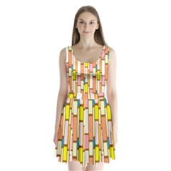 Retro Blocks Split Back Mini Dress