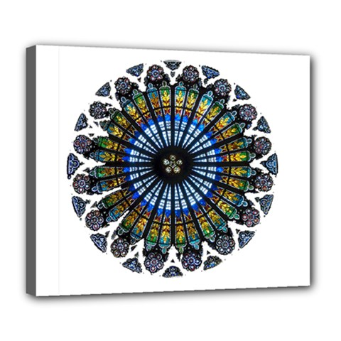Rose Window Strasbourg Cathedral Deluxe Canvas 24  x 20