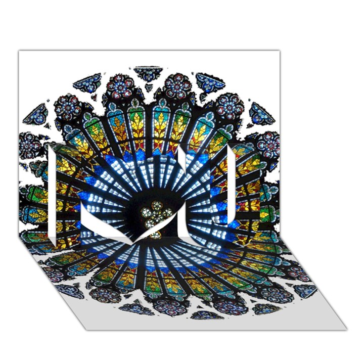 Rose Window Strasbourg Cathedral I Love You 3D Greeting Card (7x5)