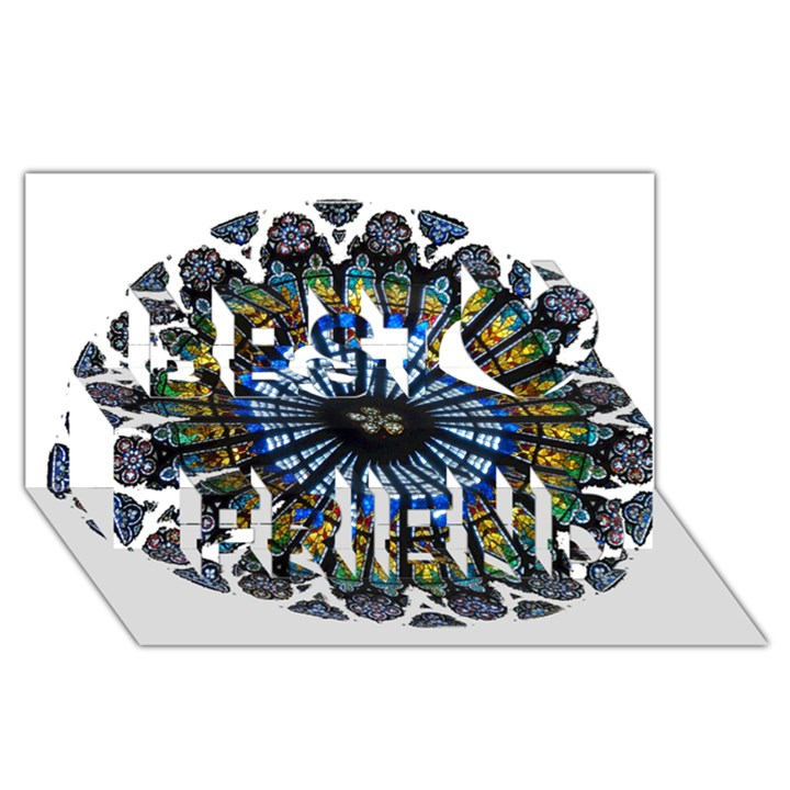 Rose Window Strasbourg Cathedral Best Friends 3D Greeting Card (8x4)