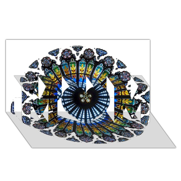 Rose Window Strasbourg Cathedral MOM 3D Greeting Card (8x4)