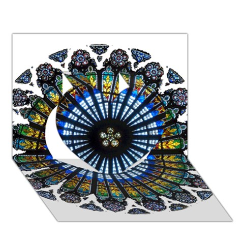 Rose Window Strasbourg Cathedral Heart 3D Greeting Card (7x5)