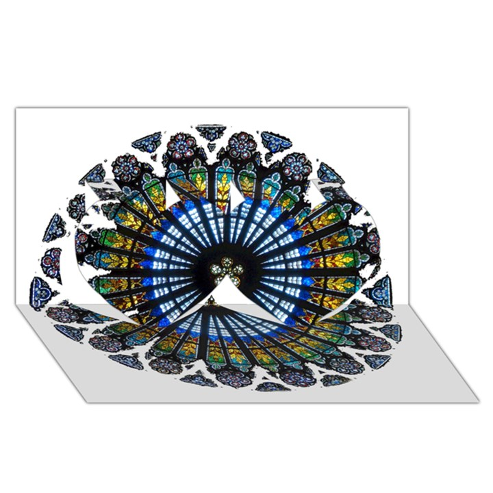 Rose Window Strasbourg Cathedral Twin Hearts 3D Greeting Card (8x4)
