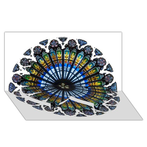 Rose Window Strasbourg Cathedral Twin Heart Bottom 3D Greeting Card (8x4)