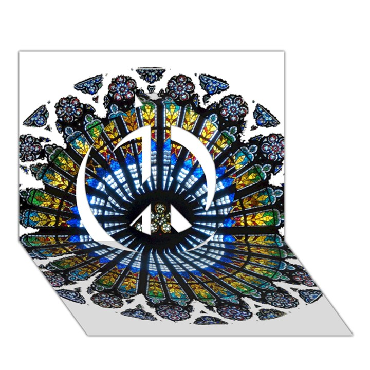 Rose Window Strasbourg Cathedral Peace Sign 3D Greeting Card (7x5)
