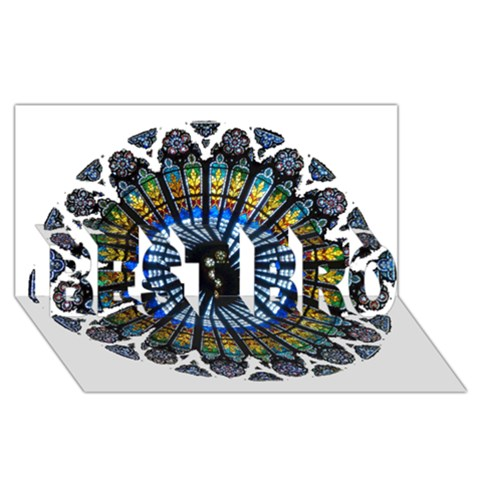 Rose Window Strasbourg Cathedral BEST BRO 3D Greeting Card (8x4)