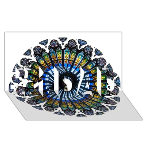 Rose Window Strasbourg Cathedral #1 DAD 3D Greeting Card (8x4)