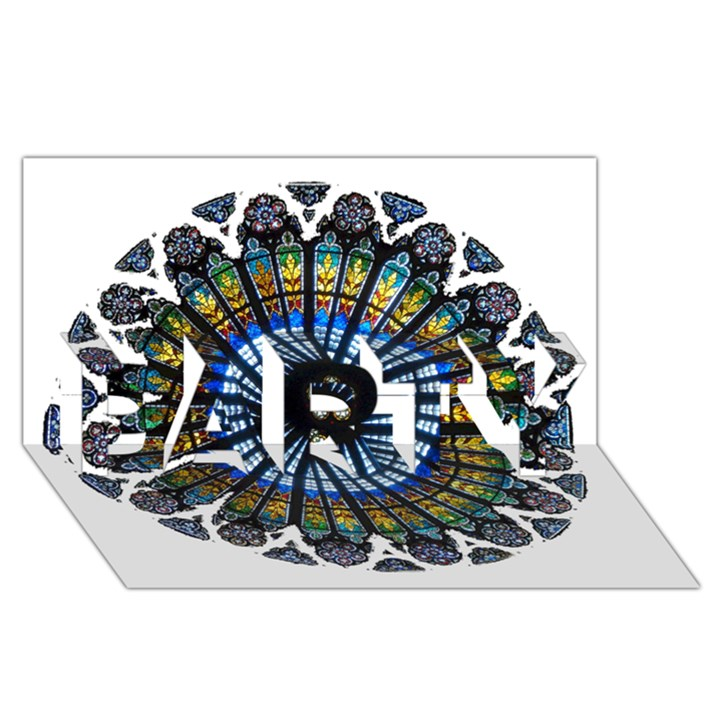 Rose Window Strasbourg Cathedral PARTY 3D Greeting Card (8x4)
