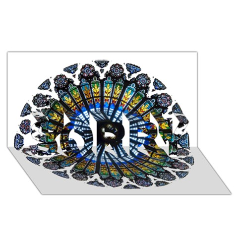 Rose Window Strasbourg Cathedral SORRY 3D Greeting Card (8x4)
