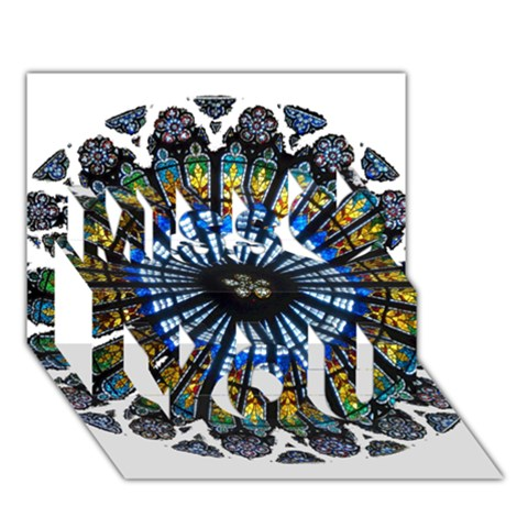 Rose Window Strasbourg Cathedral Miss You 3D Greeting Card (7x5)
