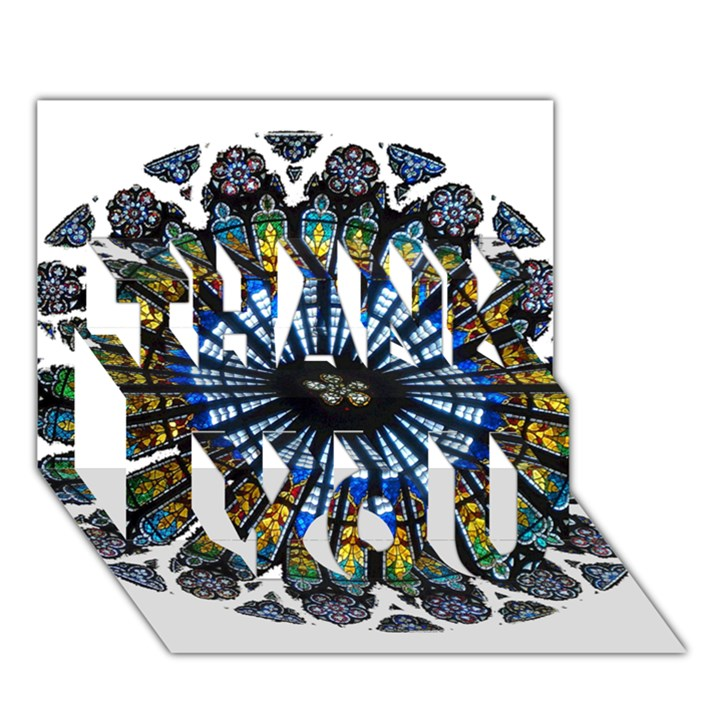 Rose Window Strasbourg Cathedral THANK YOU 3D Greeting Card (7x5)