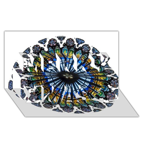 Rose Window Strasbourg Cathedral Merry Xmas 3D Greeting Card (8x4)