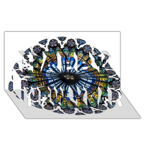 Rose Window Strasbourg Cathedral Happy New Year 3D Greeting Card (8x4)
