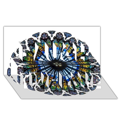 Rose Window Strasbourg Cathedral Laugh Live Love 3D Greeting Card (8x4)