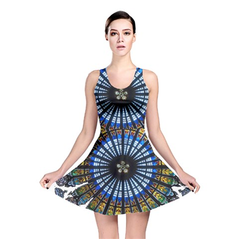 Rose Window Strasbourg Cathedral Reversible Skater Dress