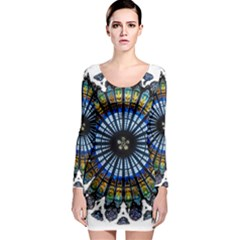 Rose Window Strasbourg Cathedral Long Sleeve Bodycon Dress