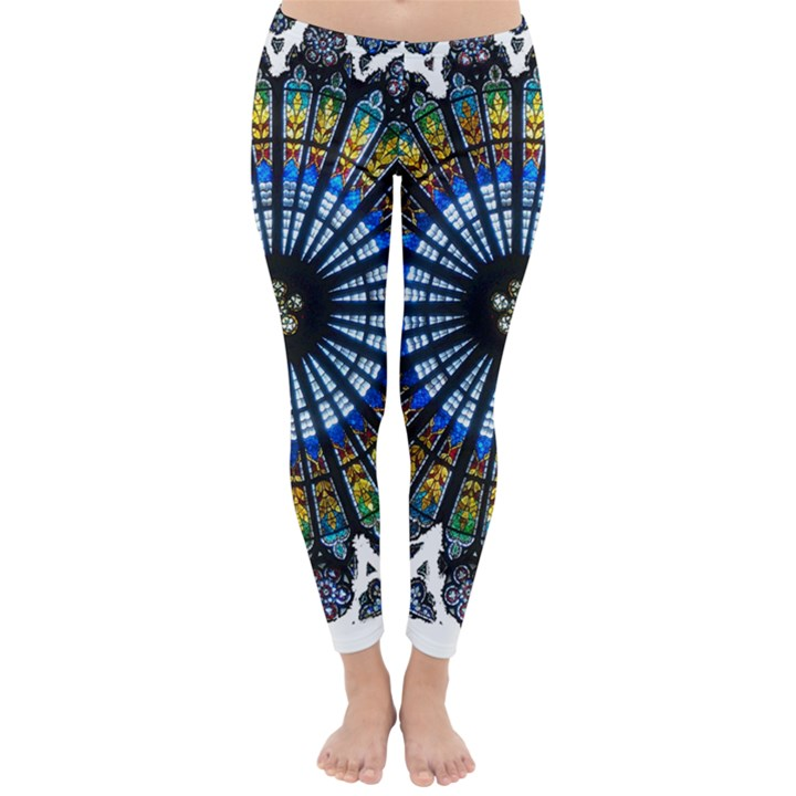 Rose Window Strasbourg Cathedral Winter Leggings
