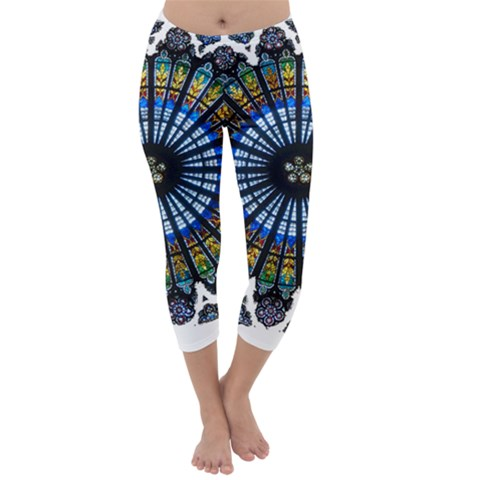 Rose Window Strasbourg Cathedral Capri Winter Leggings