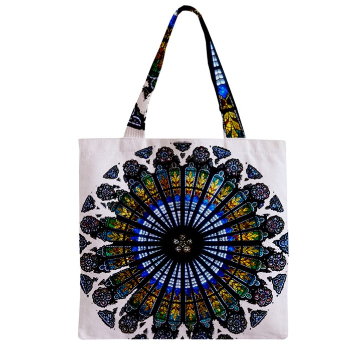 Rose Window Strasbourg Cathedral Zipper Grocery Tote Bag