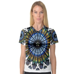 Rose Window Strasbourg Cathedral Women s V-Neck Sport Mesh Tee