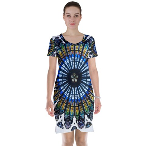 Rose Window Strasbourg Cathedral Short Sleeve Nightdress