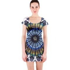 Rose Window Strasbourg Cathedral Short Sleeve Bodycon Dress
