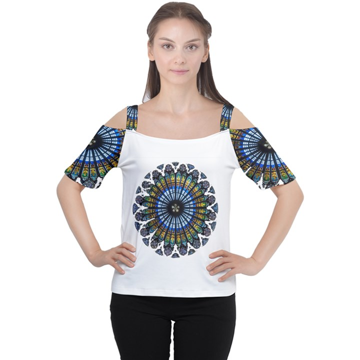 Rose Window Strasbourg Cathedral Women s Cutout Shoulder Tee