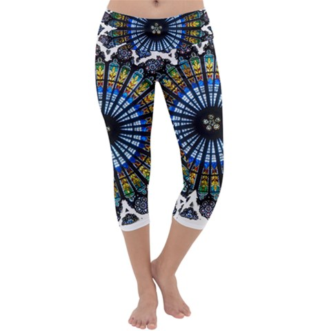 Rose Window Strasbourg Cathedral Capri Yoga Leggings