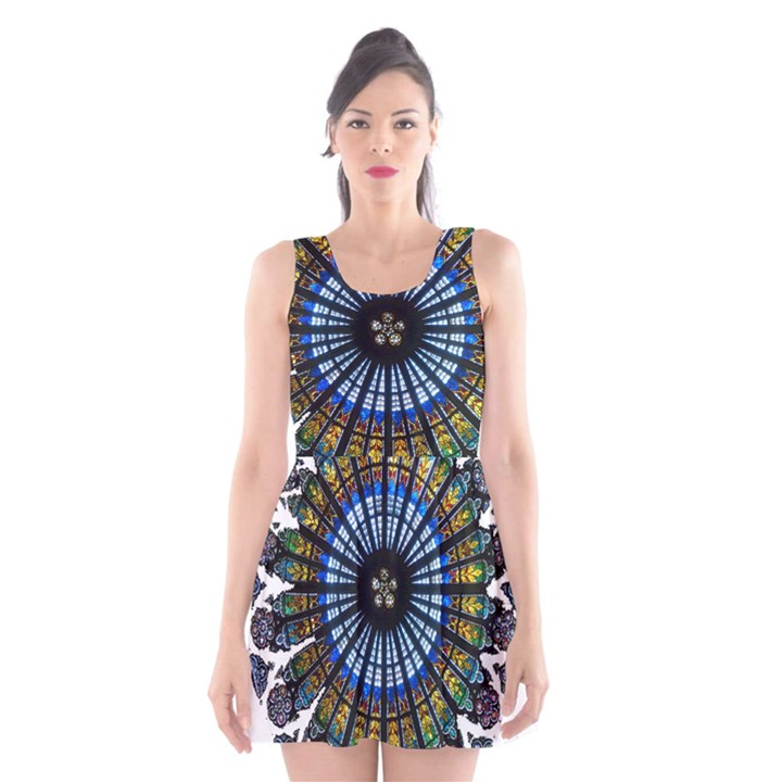 Rose Window Strasbourg Cathedral Scoop Neck Skater Dress